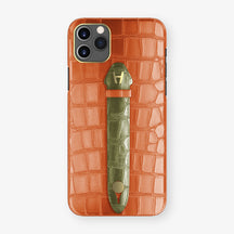 Alligator Centered Finger Case Phone 11 Pro Max  | Orange-Sunset/Khaki - Yellow Gold