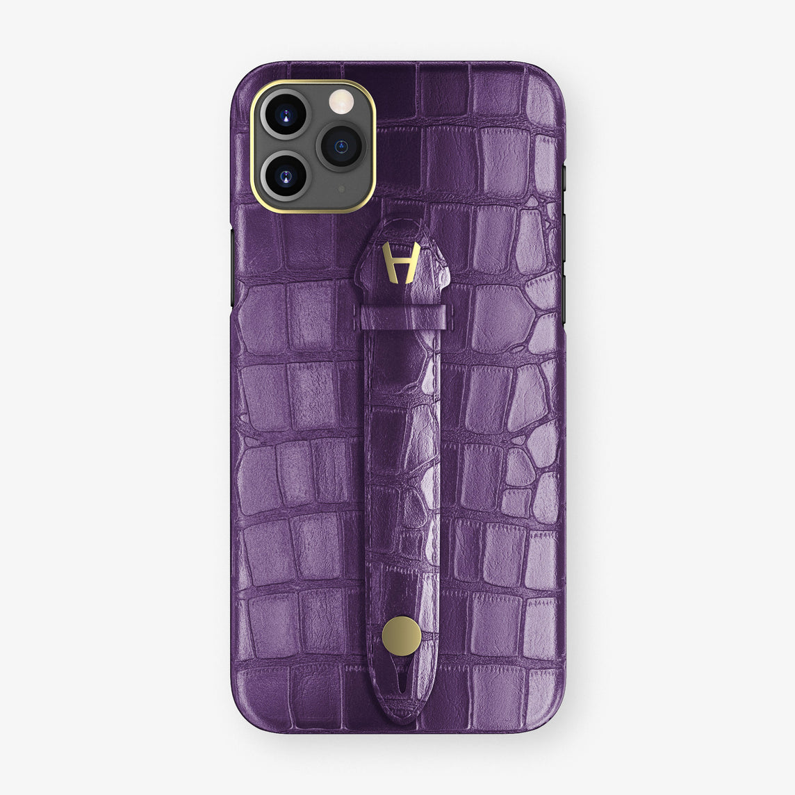 Alligator Centered Finger Case Phone 11 Pro Max  | Purple/Purple - Yellow Gold