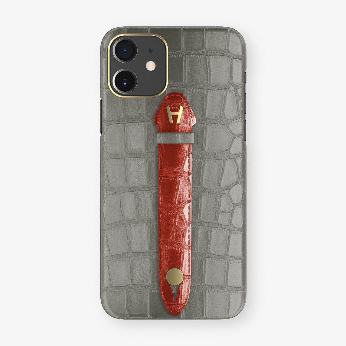 Alligator Centered Finger Case Phone 11  | Grey/Red - Yellow Gold