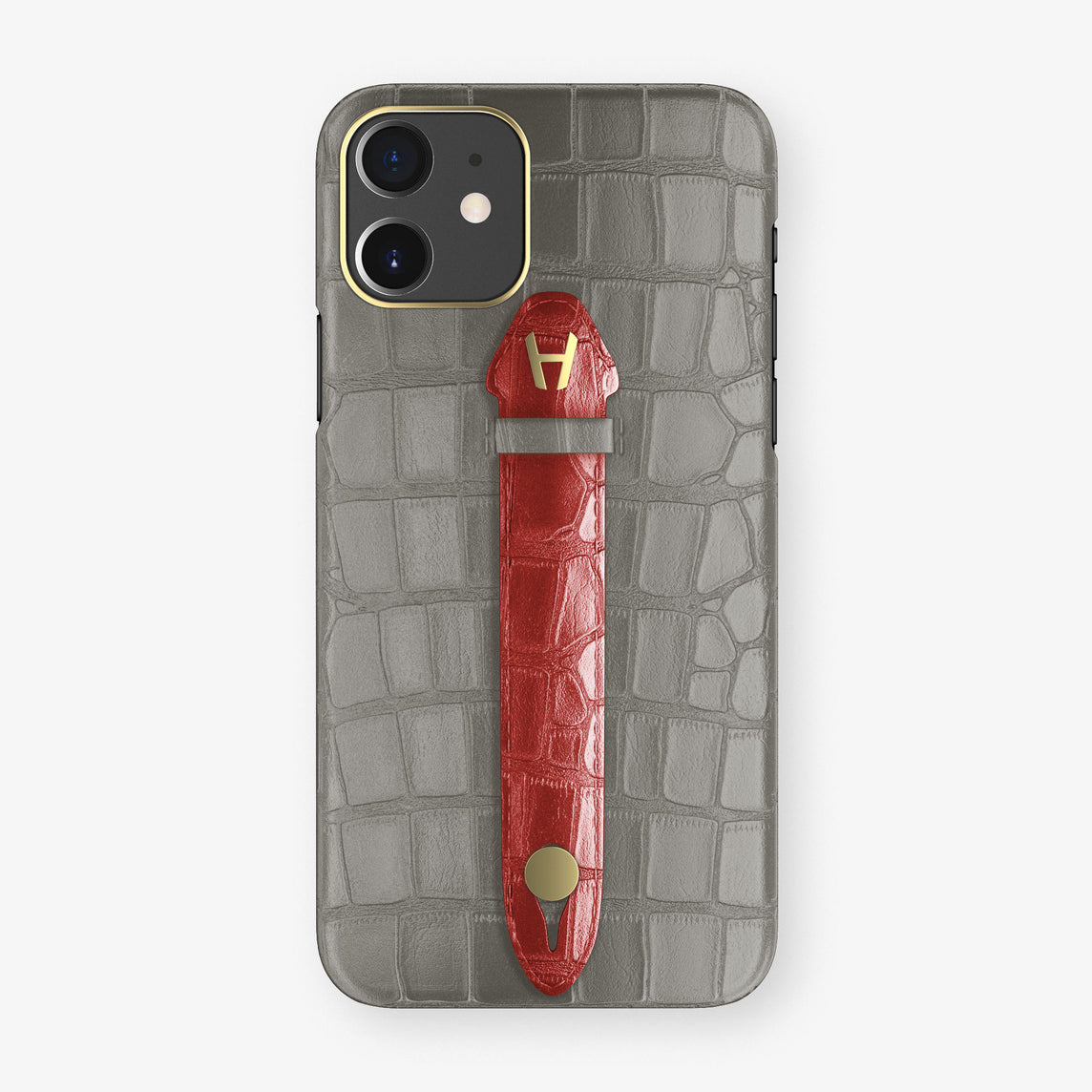 Alligator Centered Finger Case Phone 11  | Grey/Red-Ruby-Nacre - Yellow Gold