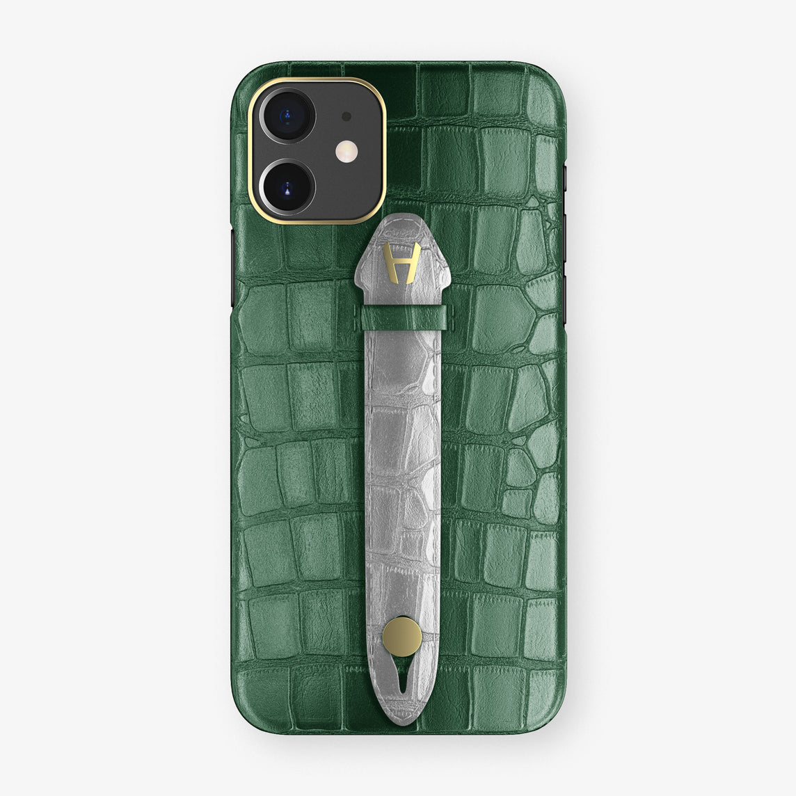 Alligator Centered Finger Case Phone 11  | Green/Silver - Yellow Gold
