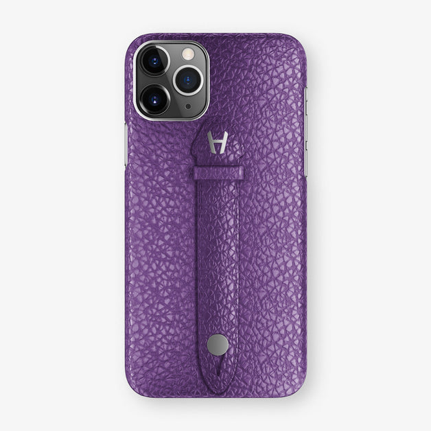 Calfskin Centered Finger Case iPhone 11 Pro | Purple - Stainless Steel