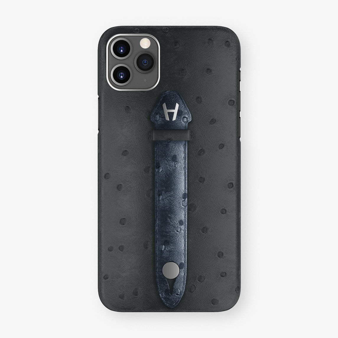 Ostrich Centered Finger Case iPhone 11 Pro Max | Anthracite/Navy Blue - Stainless Steel