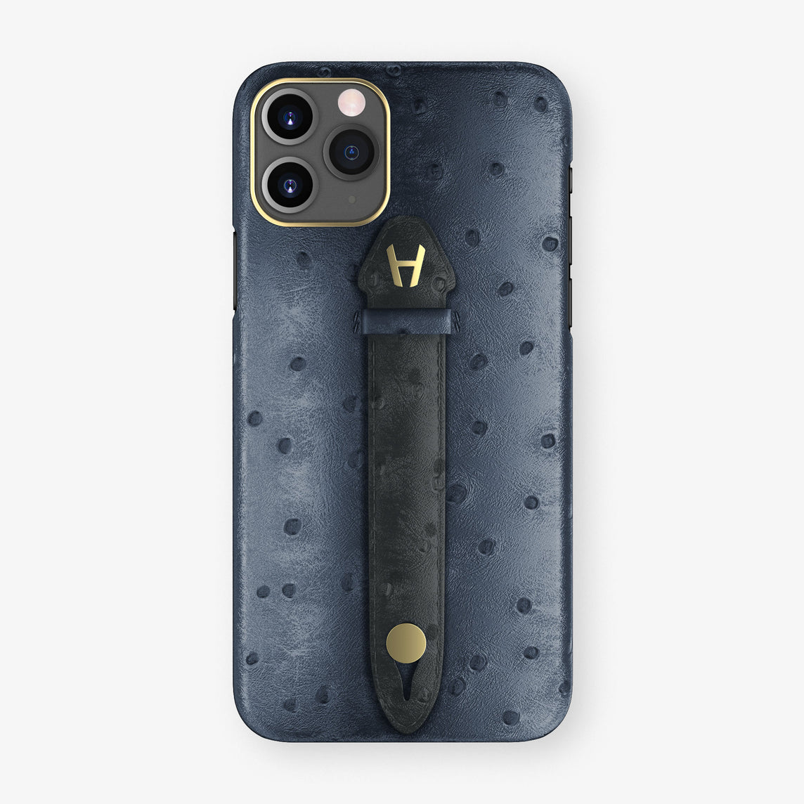 Ostrich Centered Finger Case iPhone 11 Pro | Navy Blue/Anthracite - Yellow Gold