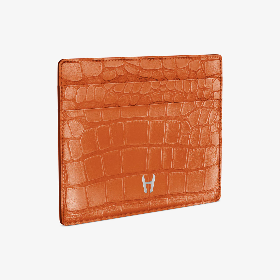 Alligator Cardholder 001b | Orange Sunset - Stainless Steel