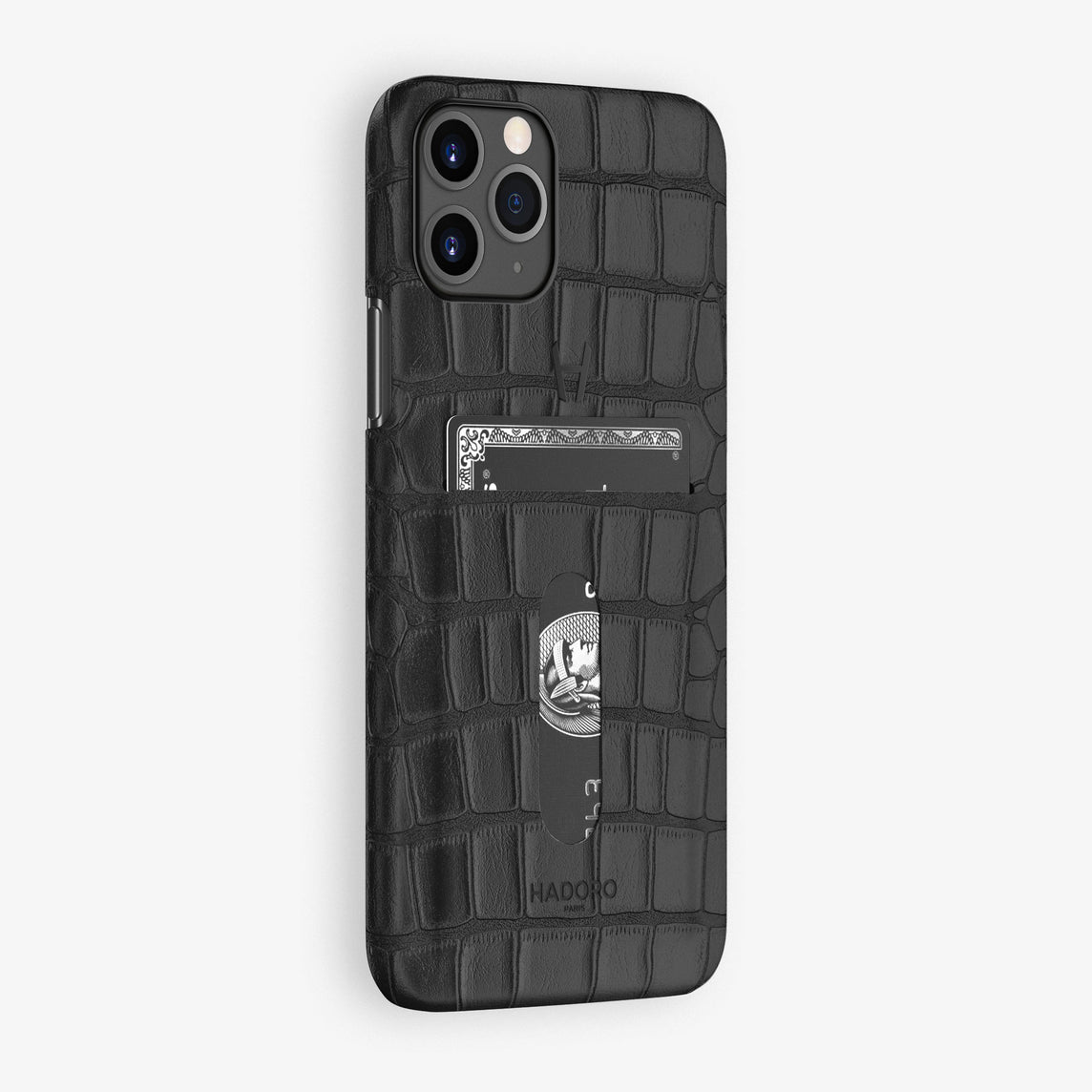 Alligator Card Holder Case iPhone 11 Pro | Black - Black