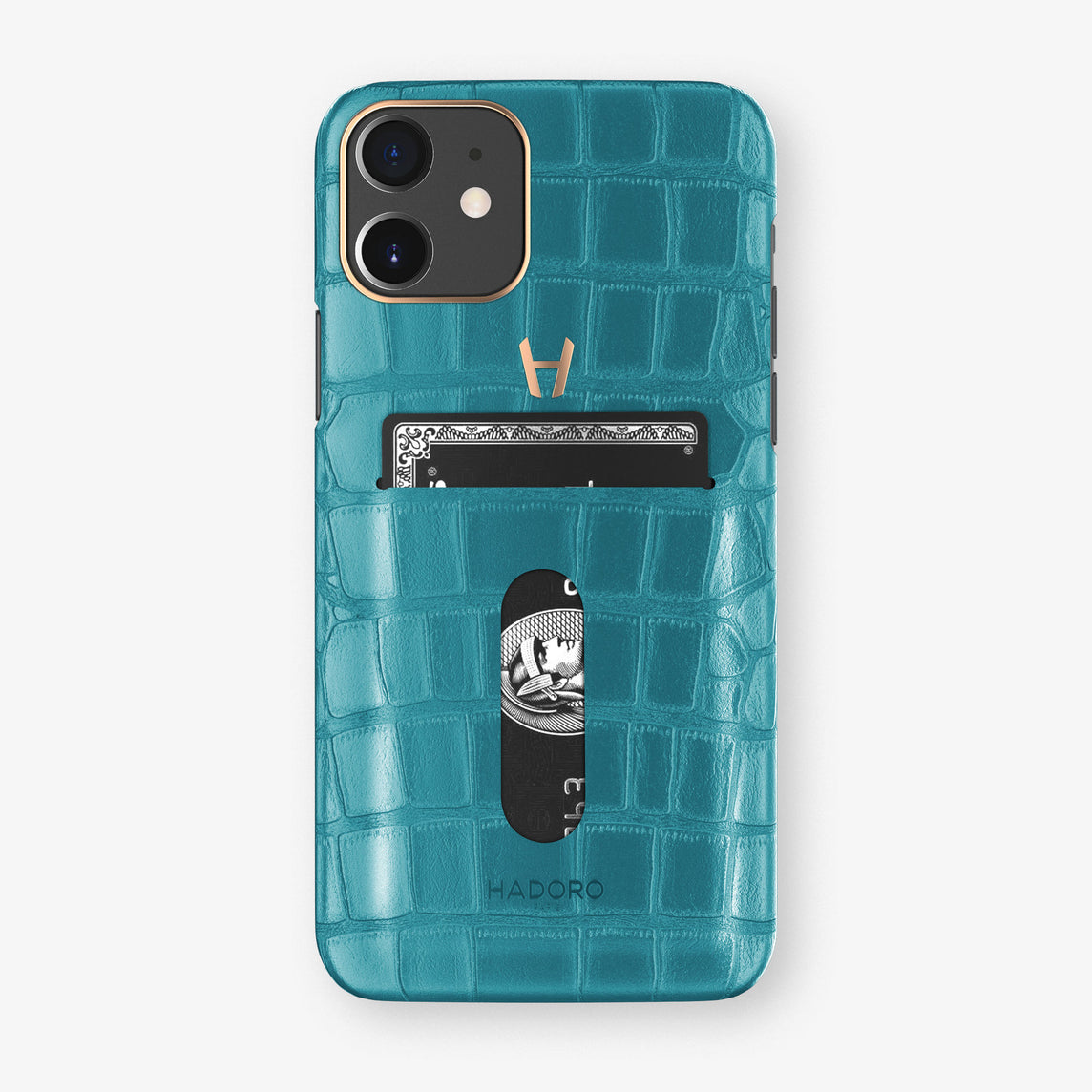 Alligator Card Holder Case iPhone 11 | Blue Teal - Rose Gold