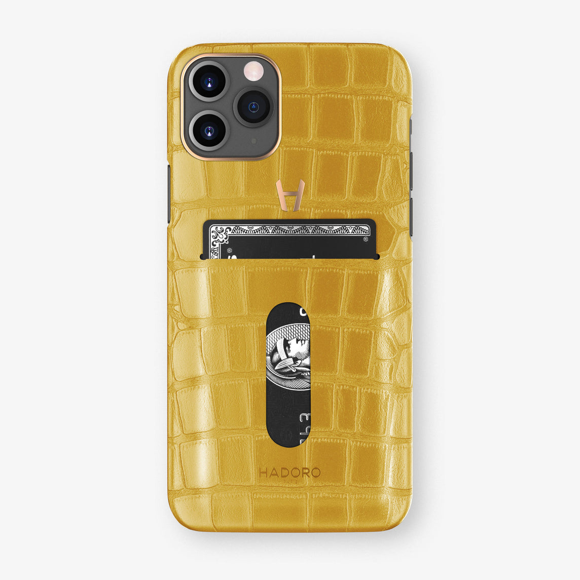 Alligator Card Holder Case iPhone 11 Pro | Yellow - Rose Gold