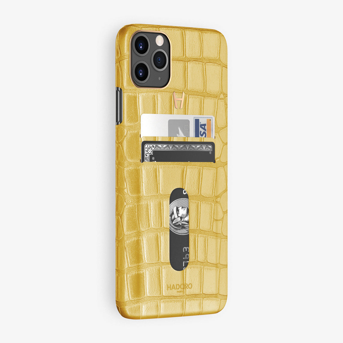 Alligator Card Holder Case iPhone 11 Pro Max | Yellow - Rose Gold