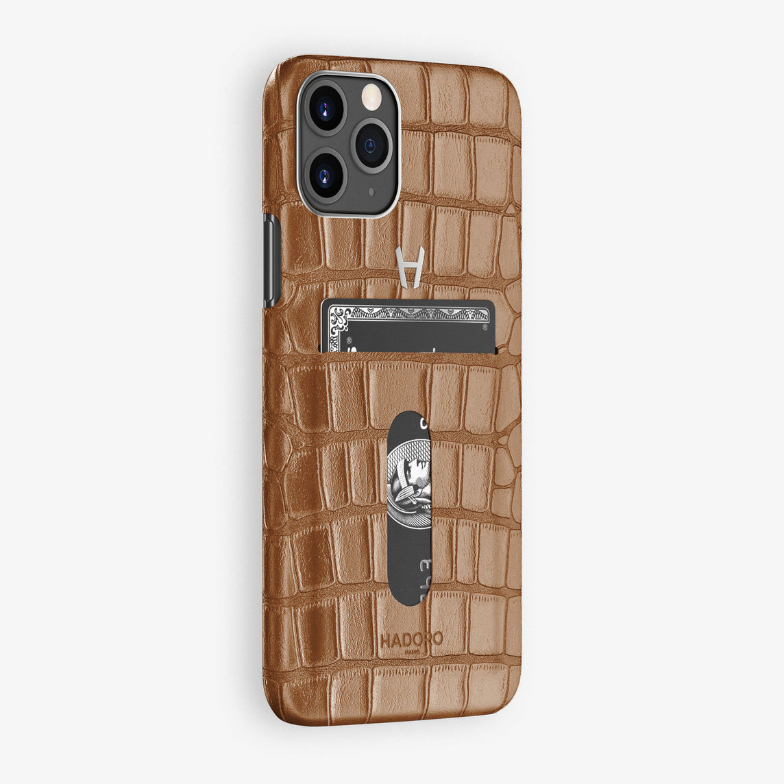 Alligator Card Holder Case iPhone 11 Pro | Brown Cognac - Stainless Steel