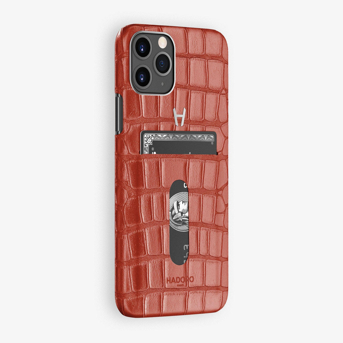Alligator Card Holder Case iPhone 11 Pro | Red Lipstick - Stainless Steel