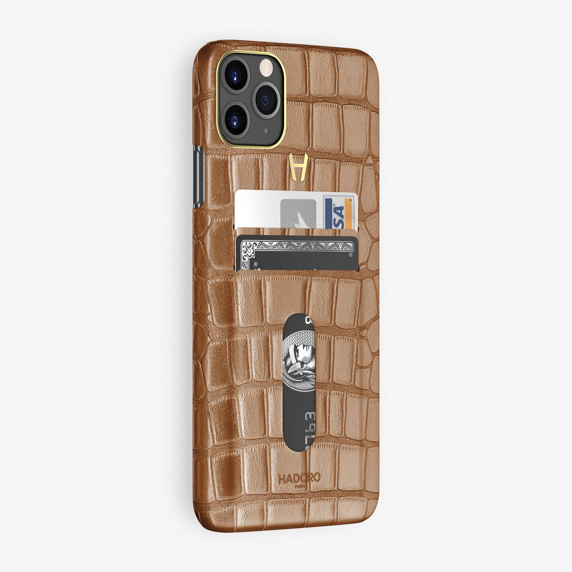 Alligator Card Holder Case iPhone 11 Pro Max | Brown Cognac - Yellow Gold