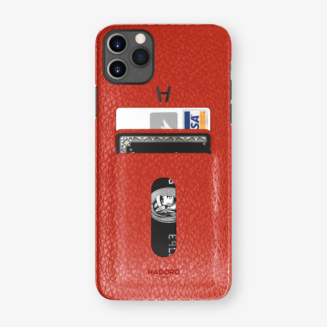 Calfskin Card Holder Case iPhone 11 Pro Max | Red - Black