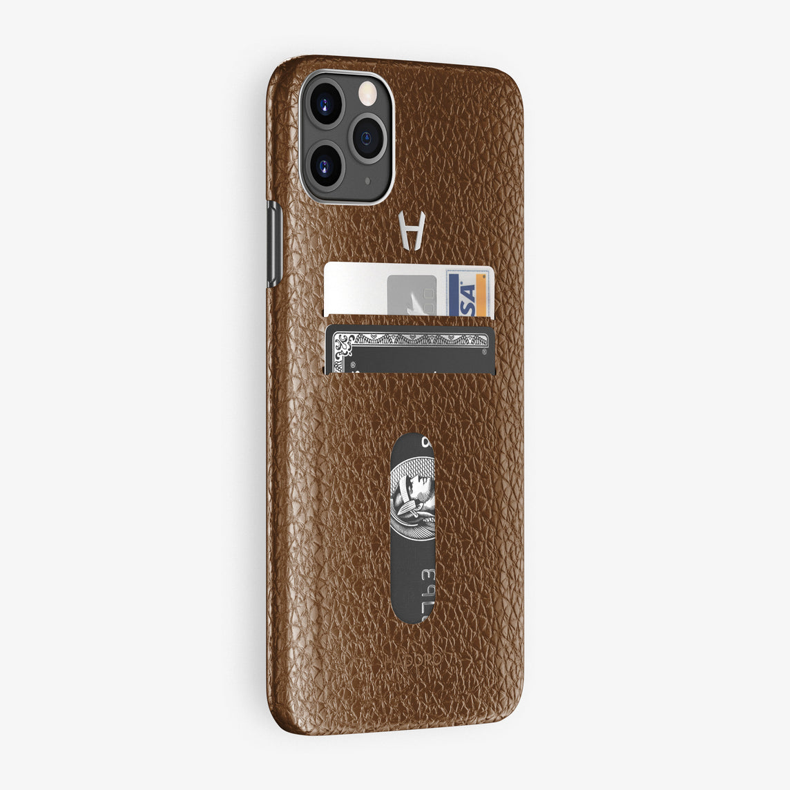 Calfskin Card Holder Case iPhone 11 Pro Max | Brown - Stainless Steel