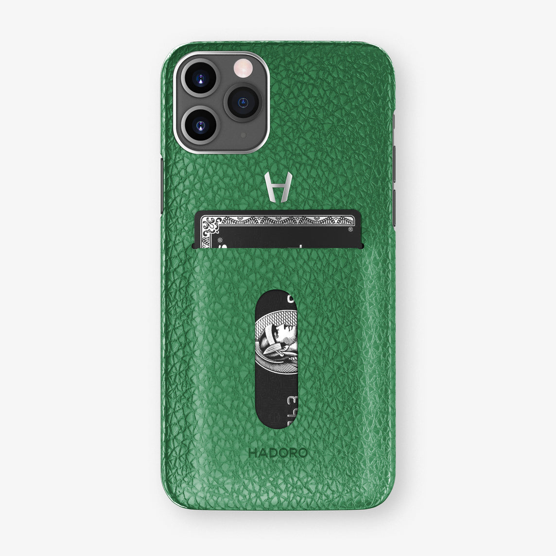Calfskin Card Holder Case iPhone 11 Pro | Green - Stainless Steel