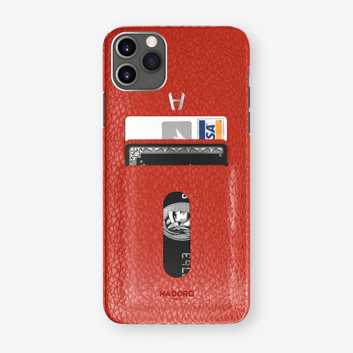 Calfskin Card Holder Case iPhone 11 Pro Max | Red - Stainless Steel