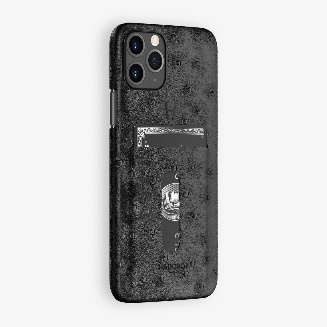 Ostrich Card Holder Case iPhone 11 Pro | Black - Black