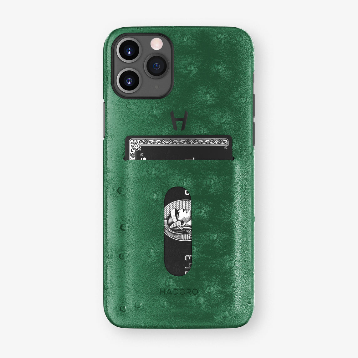 Ostrich Card Holder Case iPhone 11 Pro | Green - Black