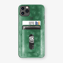 Ostrich Card Holder Case iPhone 11 Pro Max | Green - Black