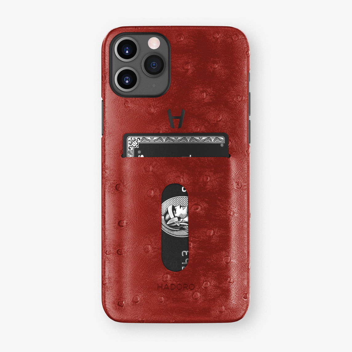 Ostrich Card Holder Case iPhone 11 Pro | Red - Black