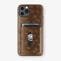 Ostrich Card Holder Case iPhone 11 Pro | Tobacco - Black