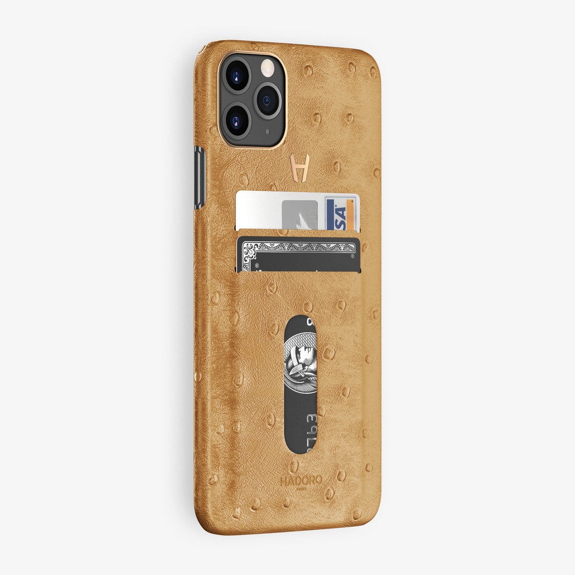 Ostrich Card Holder Case iPhone 11 Pro Max | Chestnut - Rose Gold