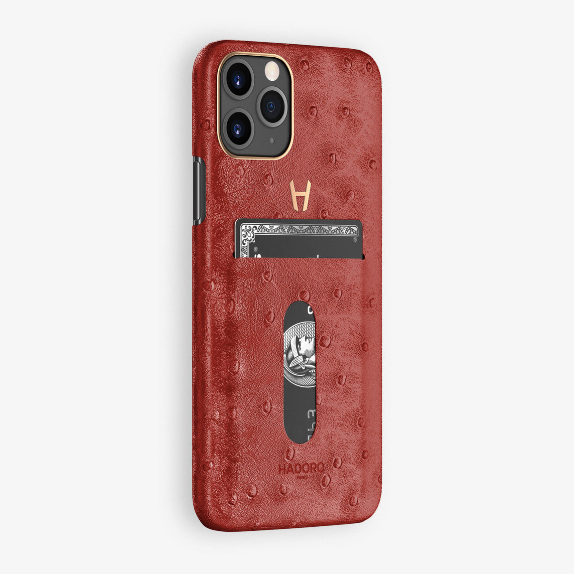 Ostrich Card Holder Case iPhone 11 Pro | Red - Rose Gold