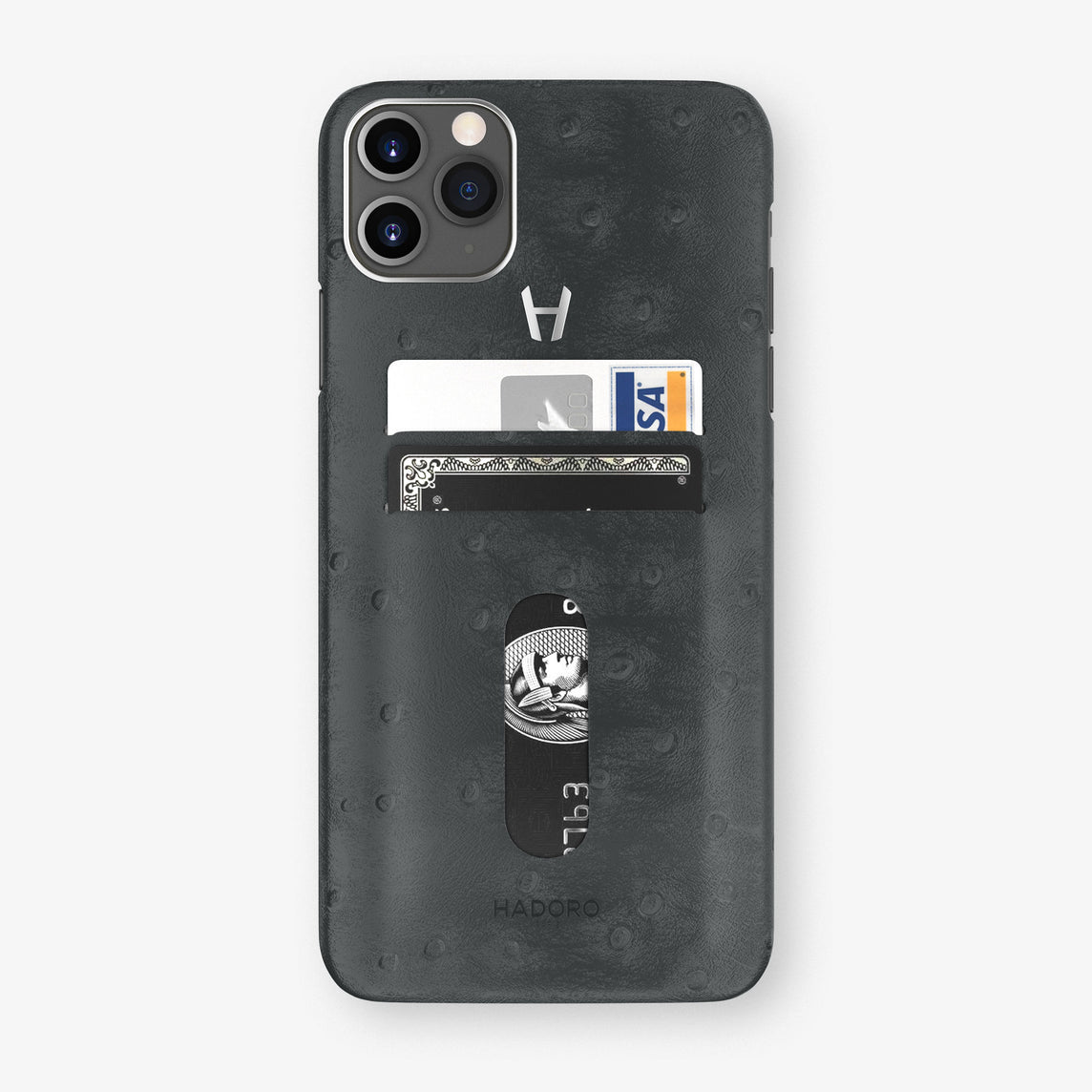 Ostrich Card Holder Case iPhone 11 Pro Max | Anthracite Grey - Stainless Steel