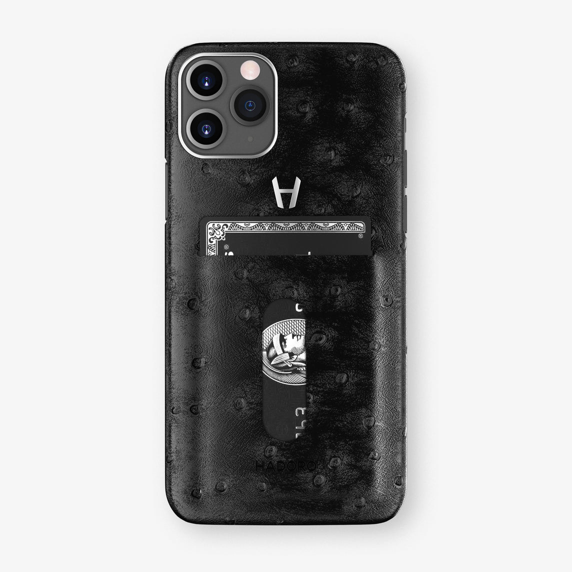Ostrich Card Holder Case iPhone 11 Pro | Black - Stainless Steel