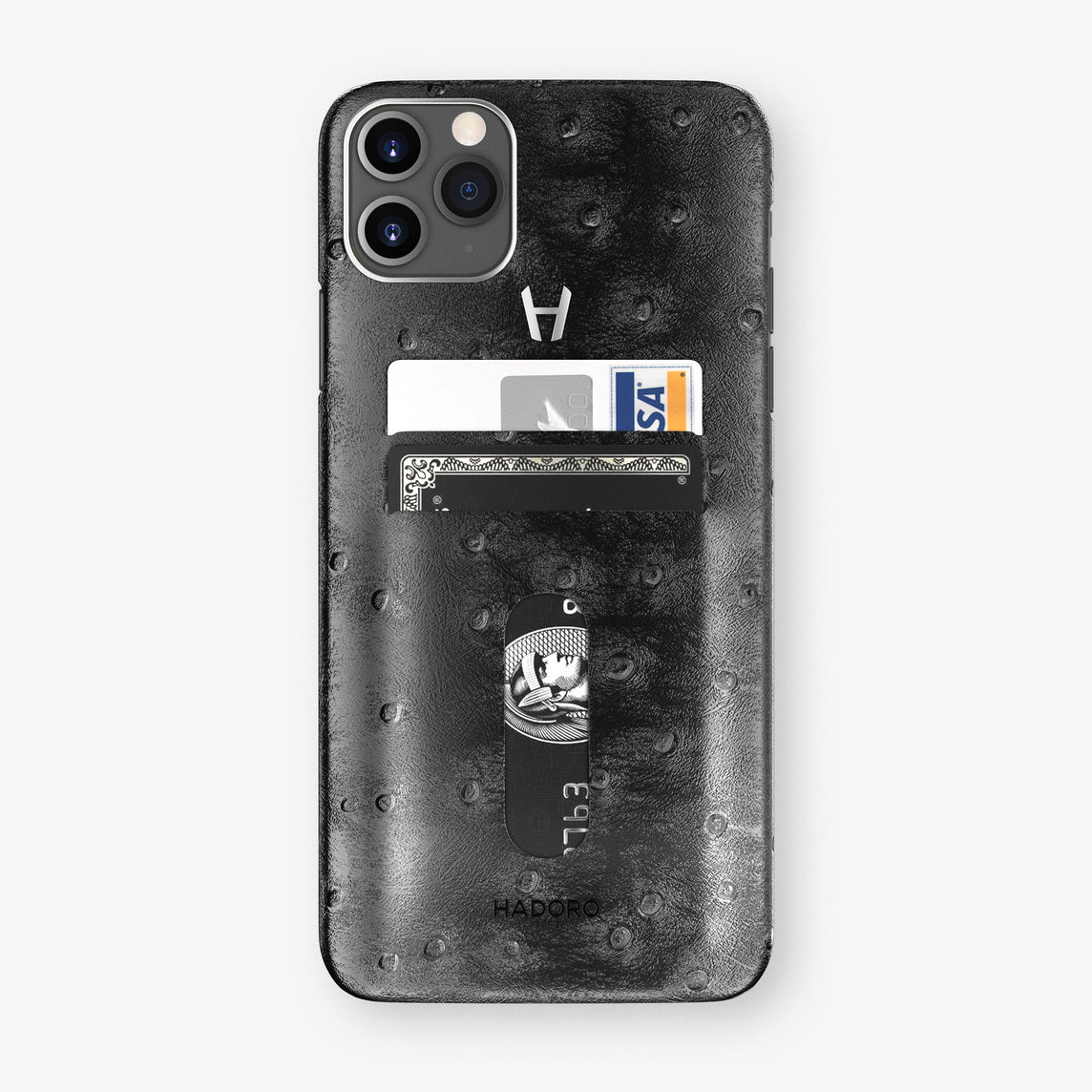 Ostrich Card Holder Case iPhone 11 Pro Max | Black - Stainless Steel