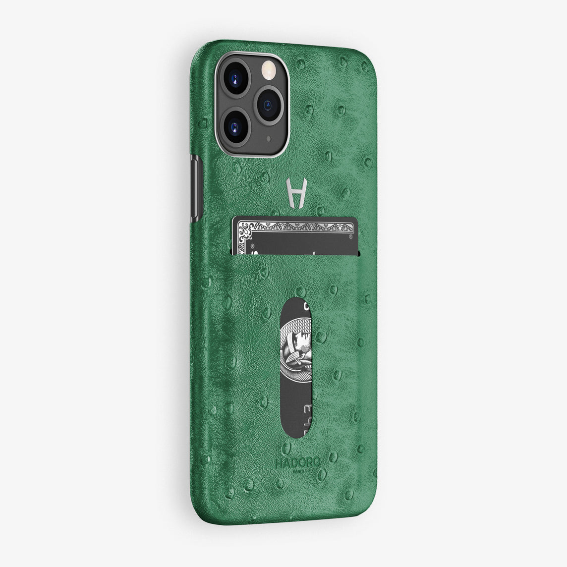 Ostrich Card Holder Case iPhone 11 Pro | Green - Stainless Steel