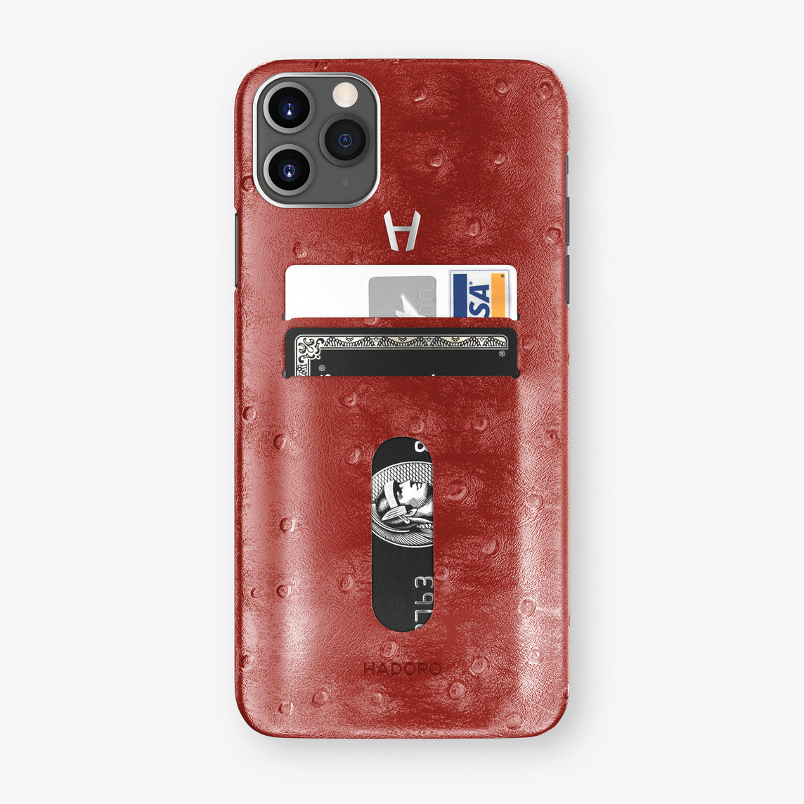 Ostrich Card Holder Case iPhone 11 Pro Max | Red - Stainless Steel