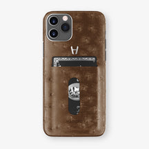 Ostrich Card Holder Case iPhone 11 Pro | Tobacco - Stainless Steel