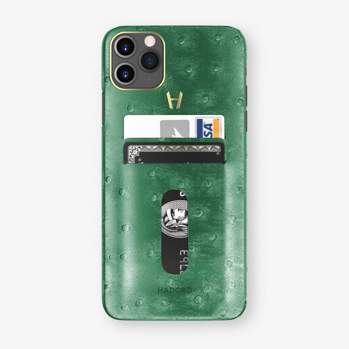 Ostrich Card Holder Case iPhone 11 Pro Max | Green - Yellow Gold