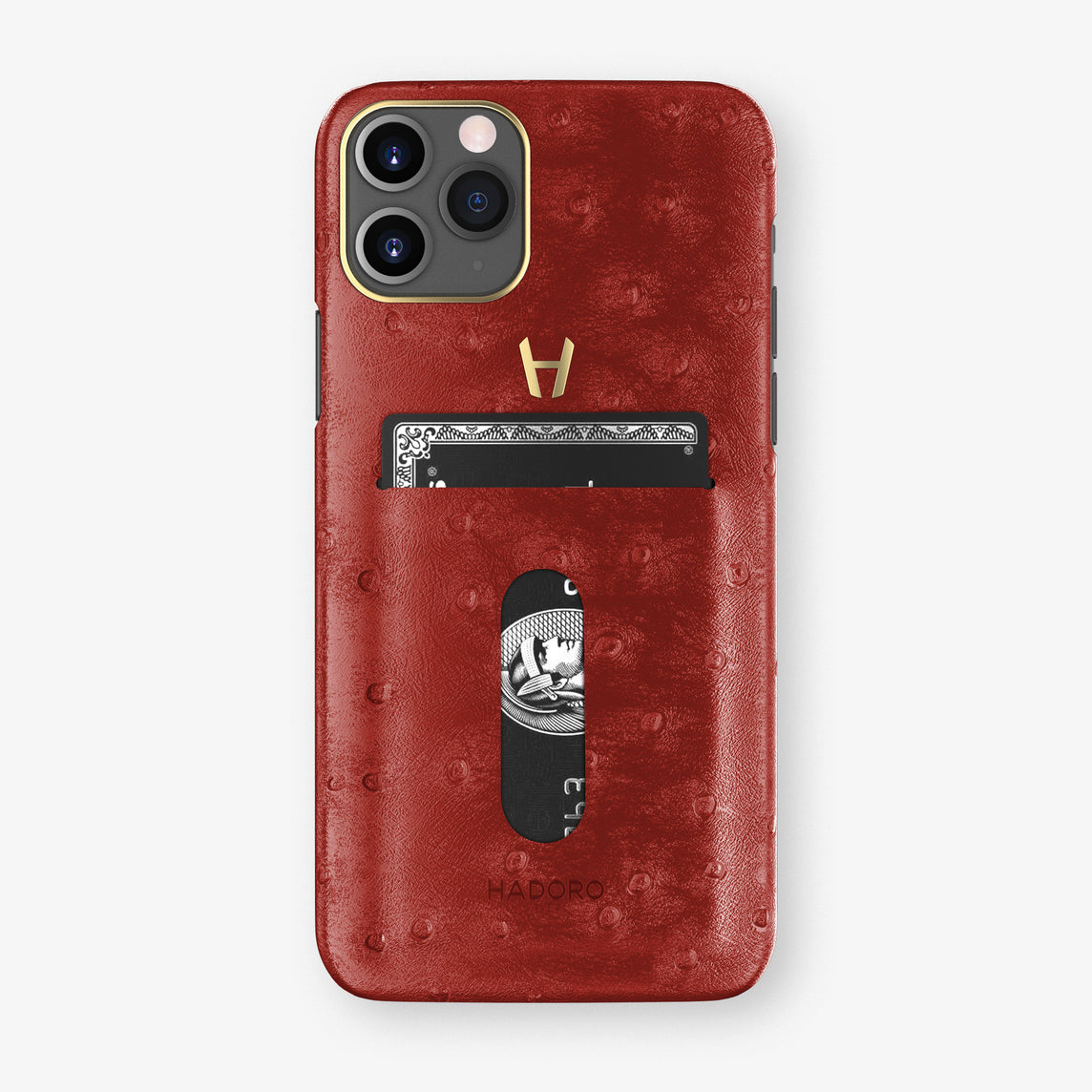 Ostrich Card Holder Case iPhone 11 Pro | Red - Yellow Gold
