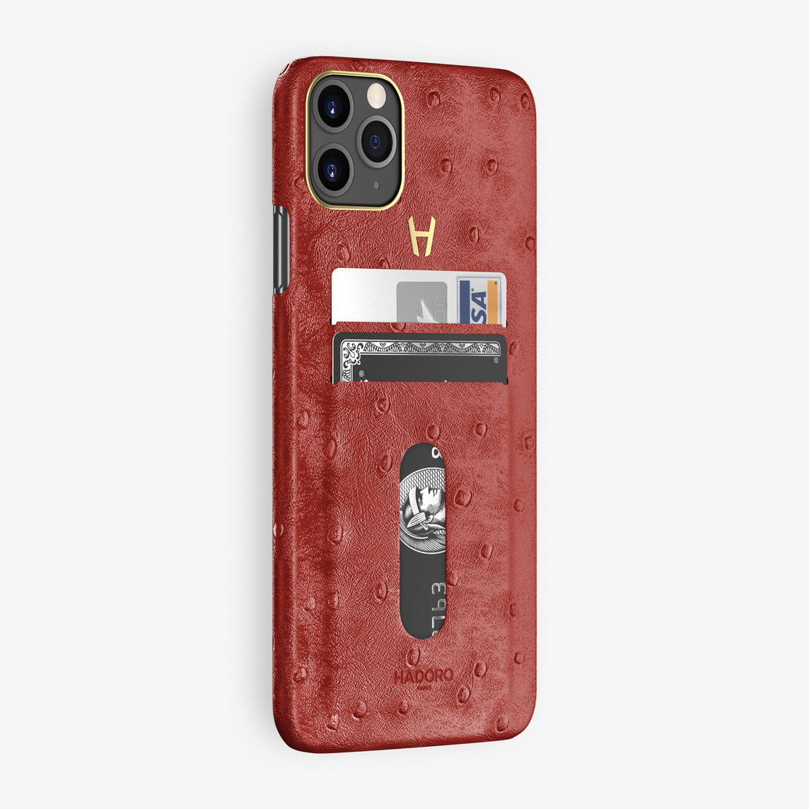 Ostrich Card Holder Case iPhone 11 Pro Max | Red - Yellow Gold