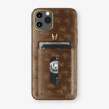 Ostrich Card Holder Case iPhone 11 Pro | Tobacco - Yellow Gold