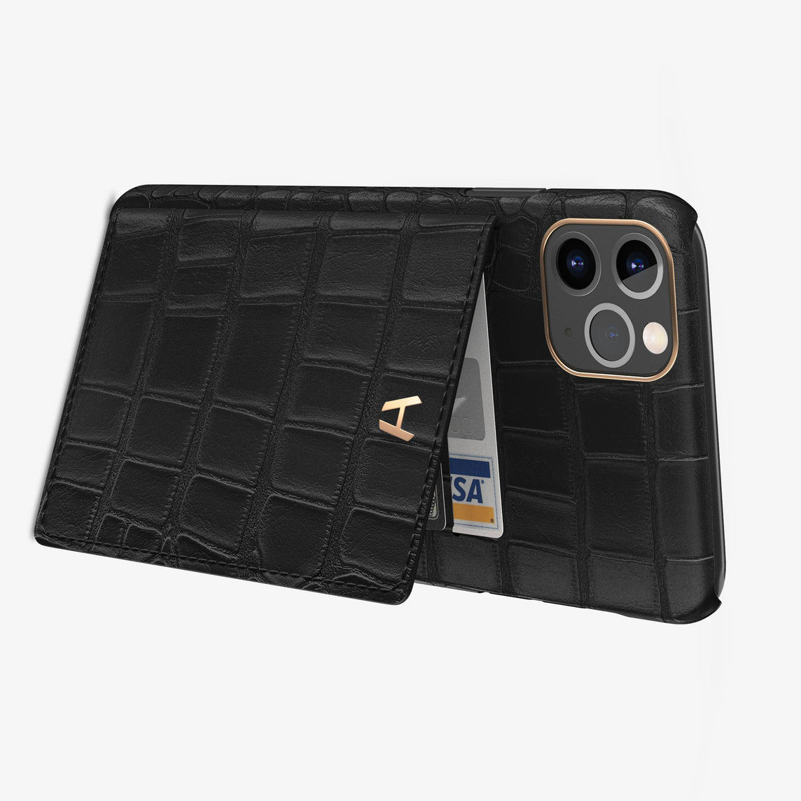 Alligator Card Holder Flap Case iPhone 11 Pro Max | Black - Rose Gold