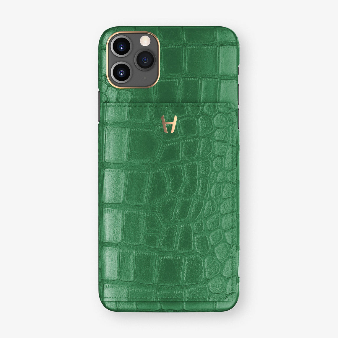 Alligator Card Holder Flap Case iPhone 11 Pro Max | Green Emerald - Rose Gold