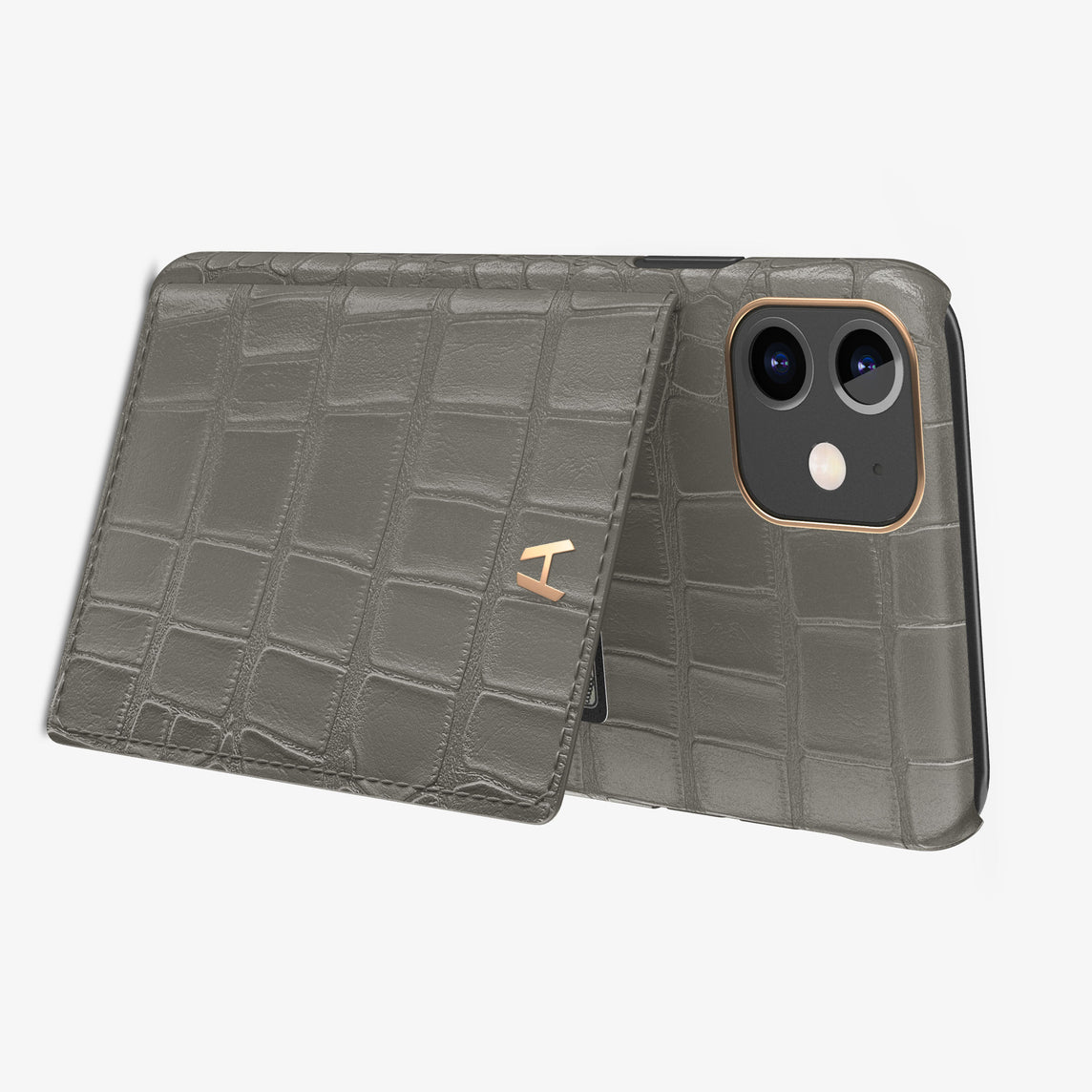Alligator Card Holder Flap Case iPhone 11 | Pearl Grey - Rose Gold