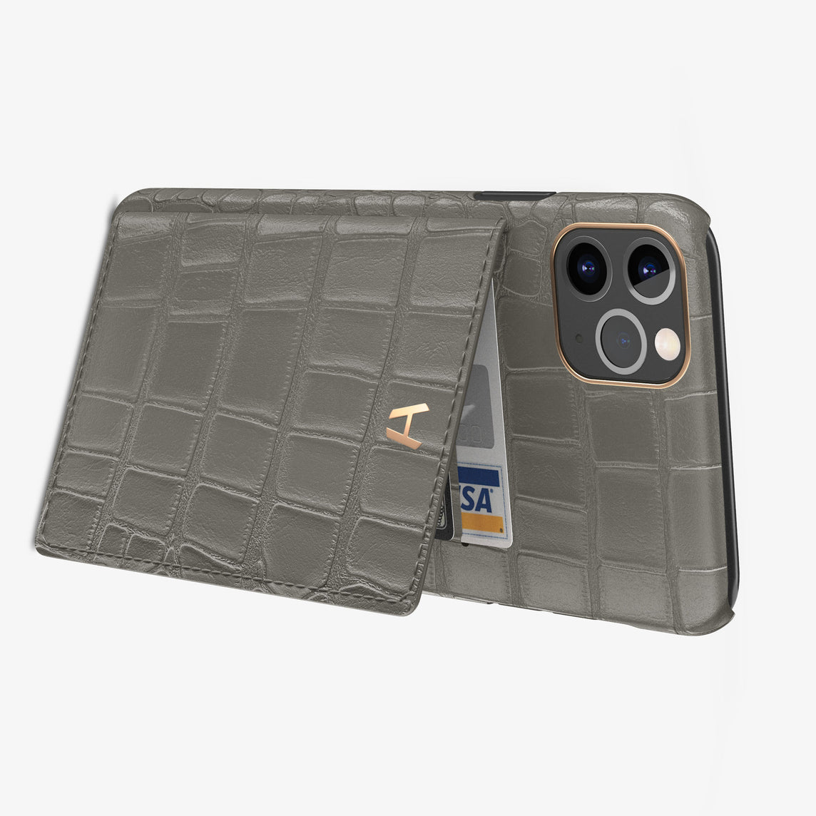 Alligator Card Holder Flap Case iPhone 11 Pro Max | Pearl Grey - Rose Gold