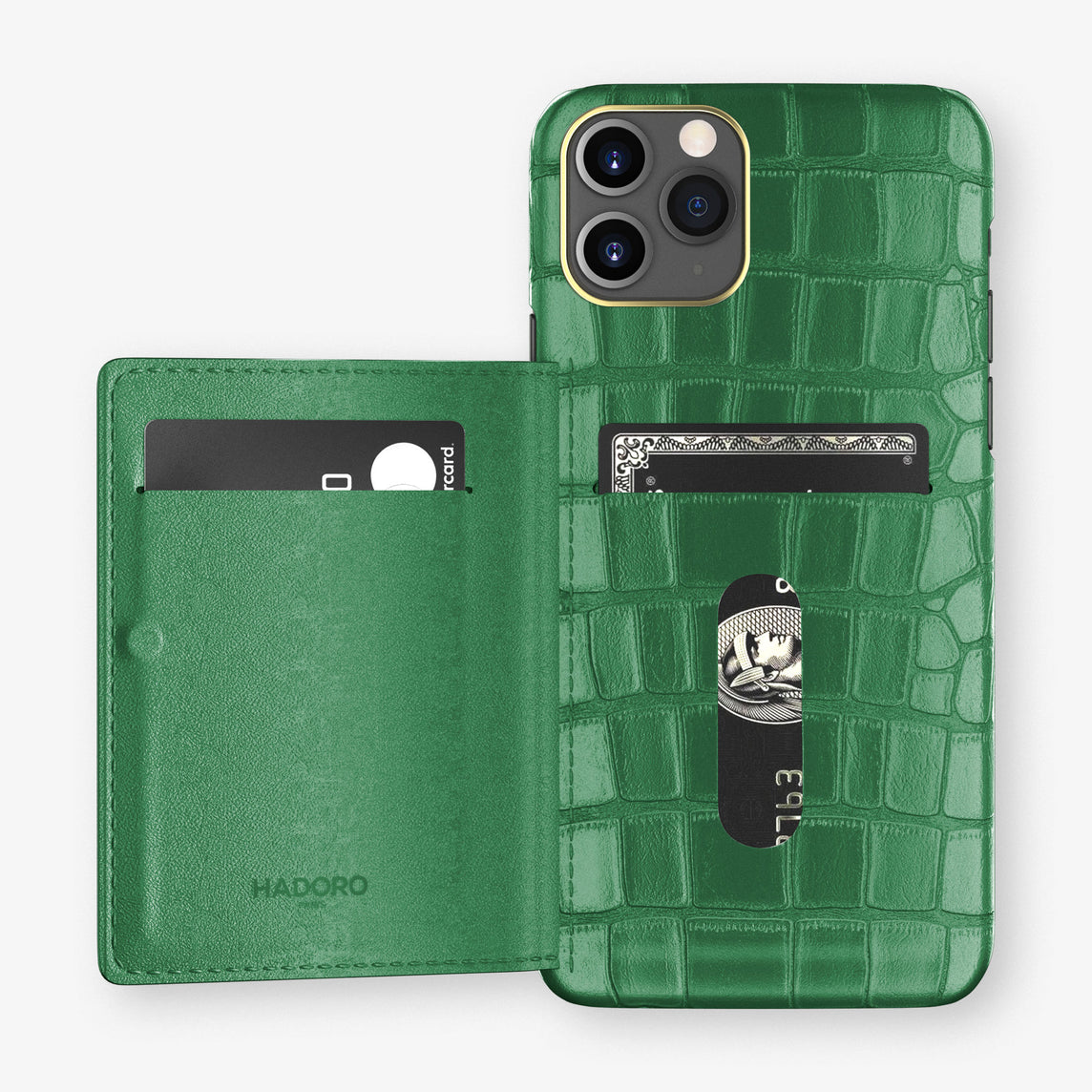 Alligator Card Holder Flap Case iPhone 11 Pro | Green Emerald - Yellow Gold