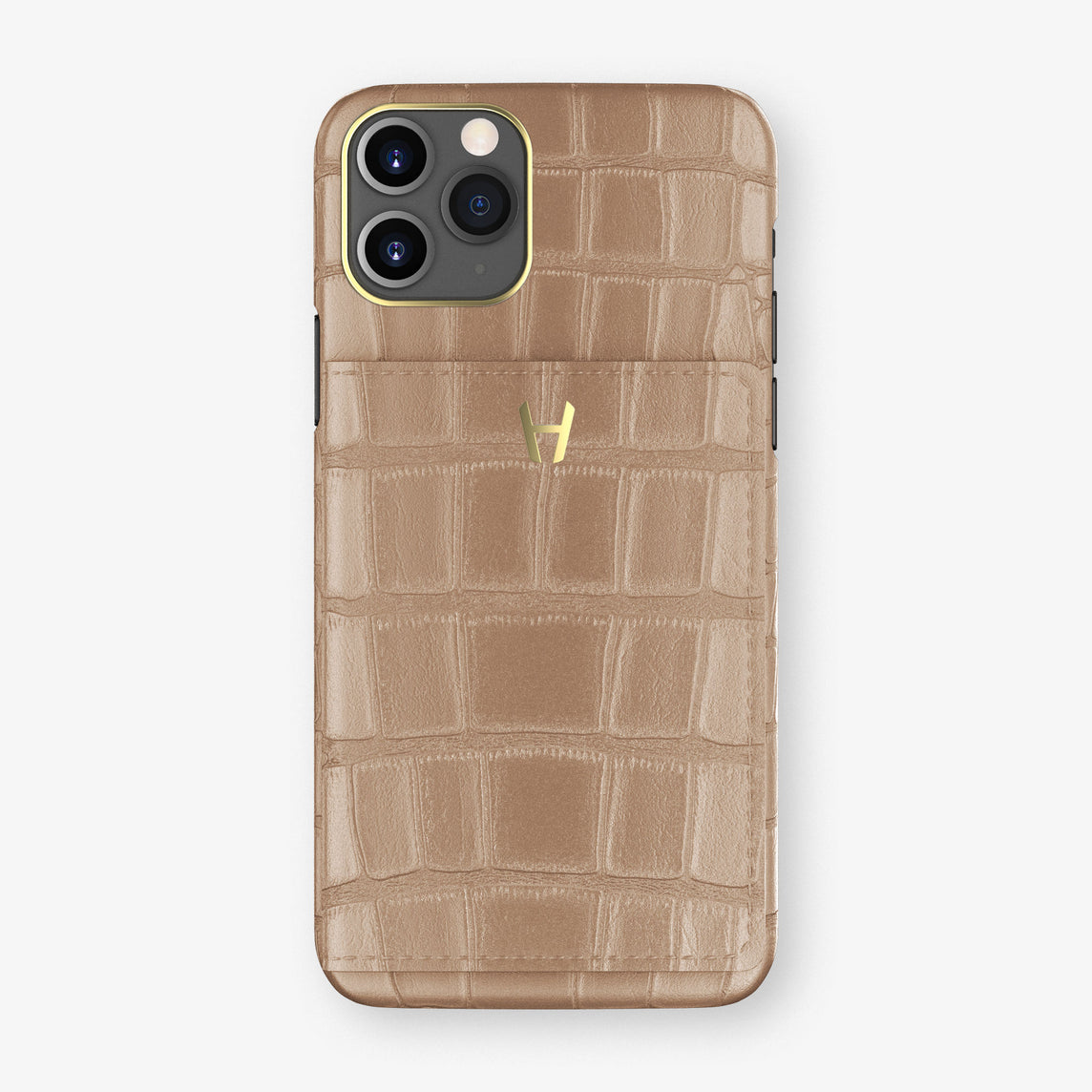 Alligator Card Holder Flap Case iPhone 11 Pro | Latte - Yellow Gold