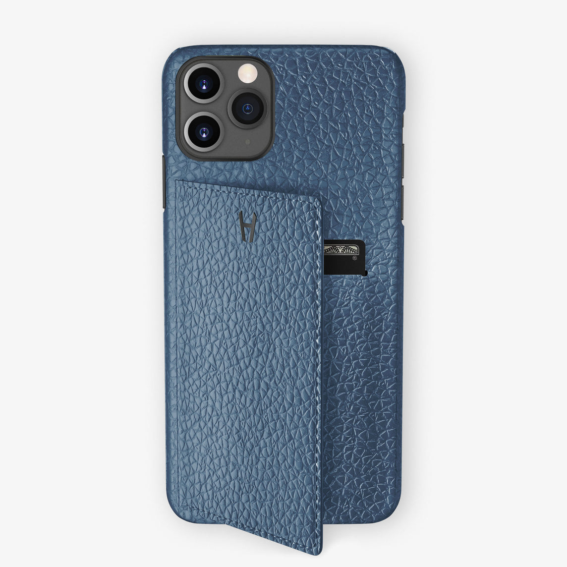 Calfskin Card Holder Flap Case iPhone 11 Pro | Teal - Black