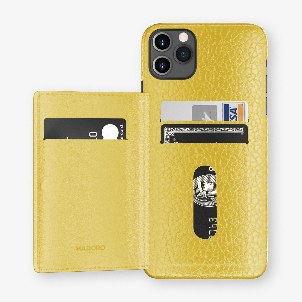 Calfskin Card Holder Flap Case iPhone 11 Pro Max | Yellow - Black