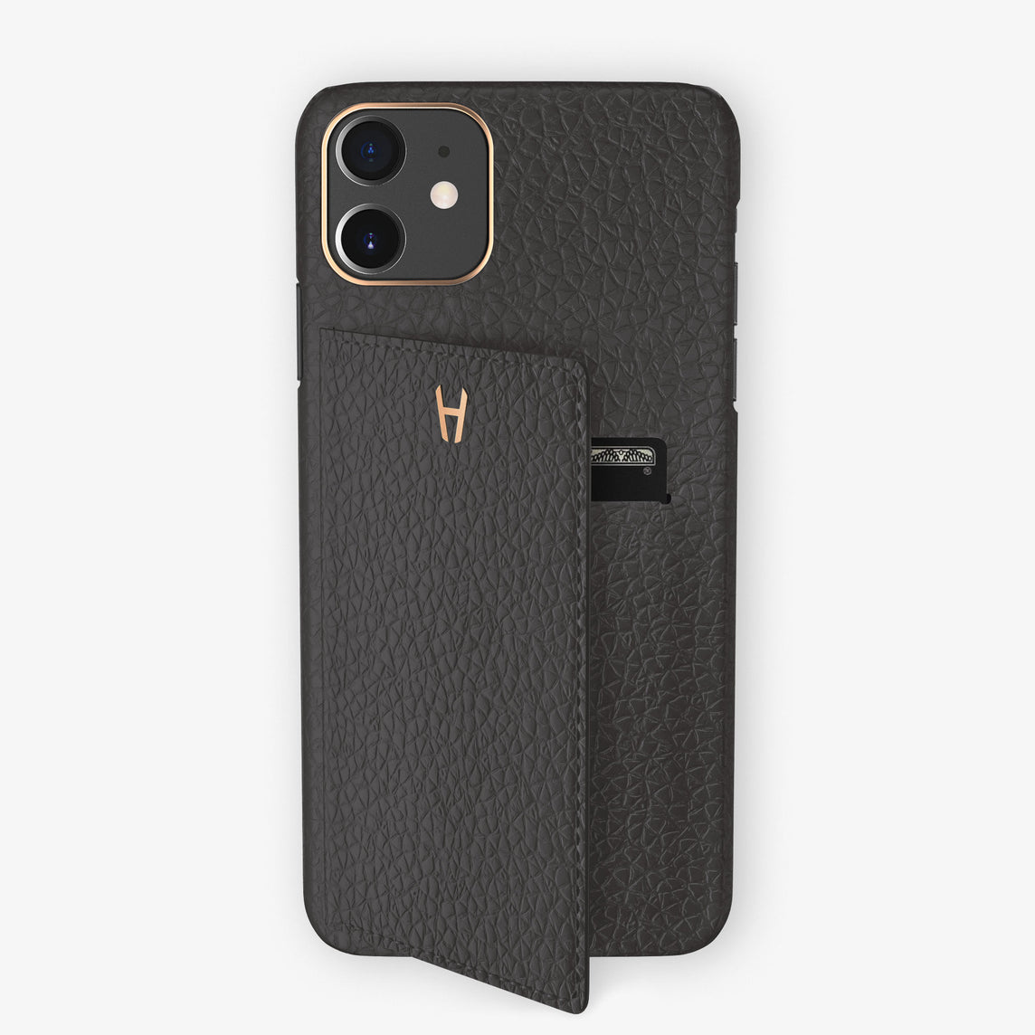 Calfskin Card Holder Flap Case iPhone 11 | Grey Anthracite  - Rose Gold
