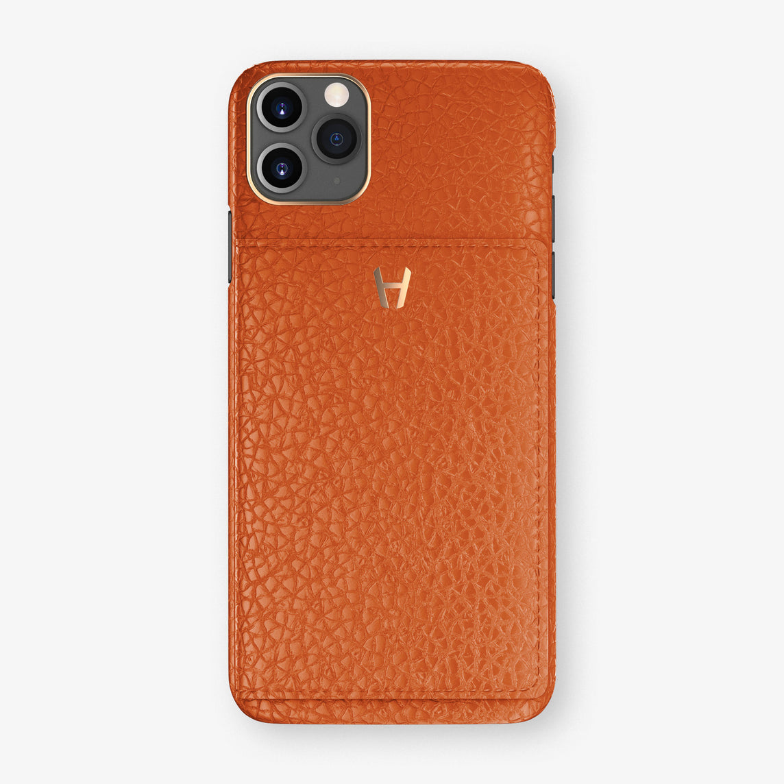 Calfskin Card Holder Flap Case iPhone 11 Pro Max | Orange Sunset - Rose Gold