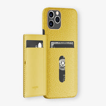Calfskin Card Holder Flap Case iPhone 11 Pro | Yellow - Rose Gold