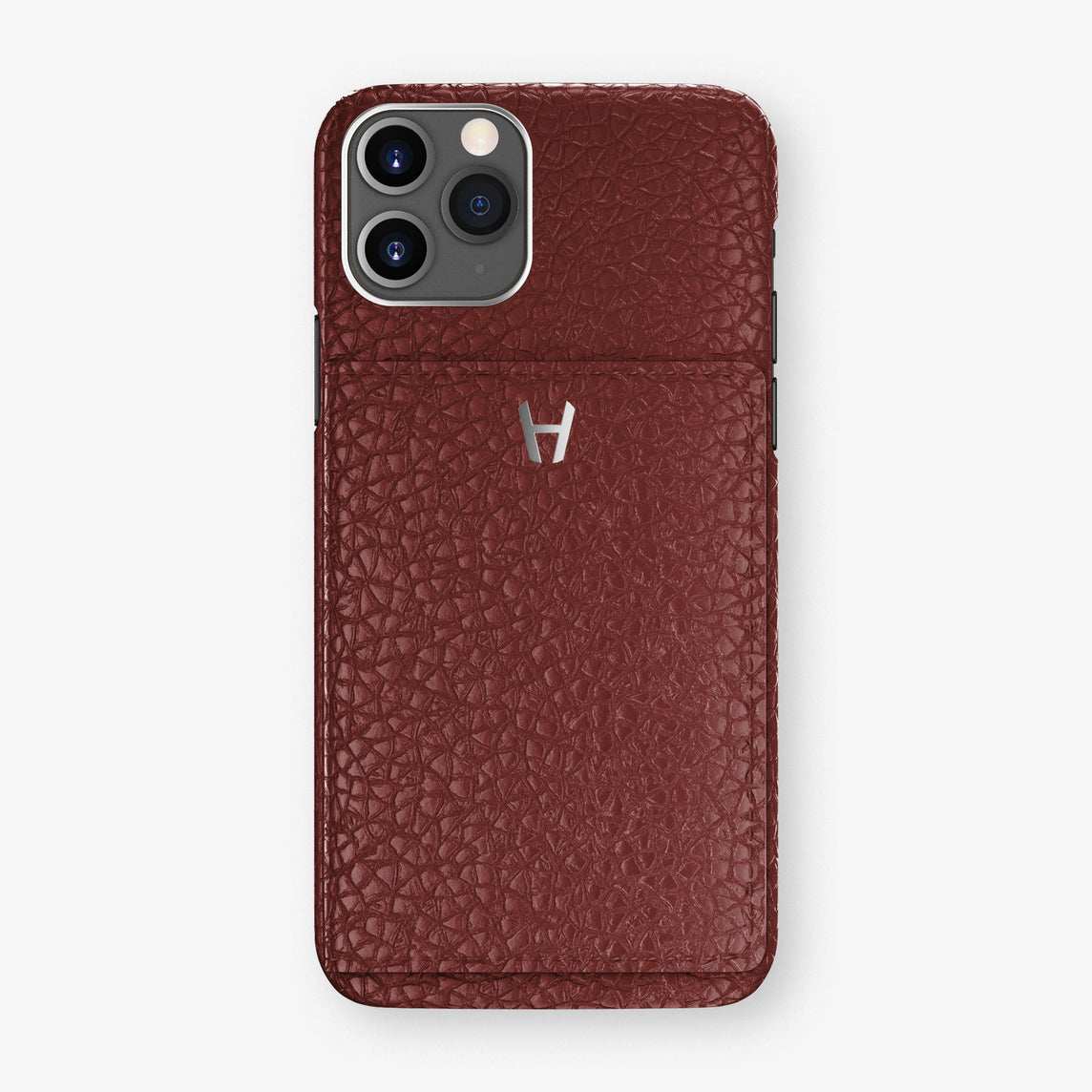Calfskin Card Holder Flap Case iPhone 11 Pro | Burgundy  - Stainless Steel