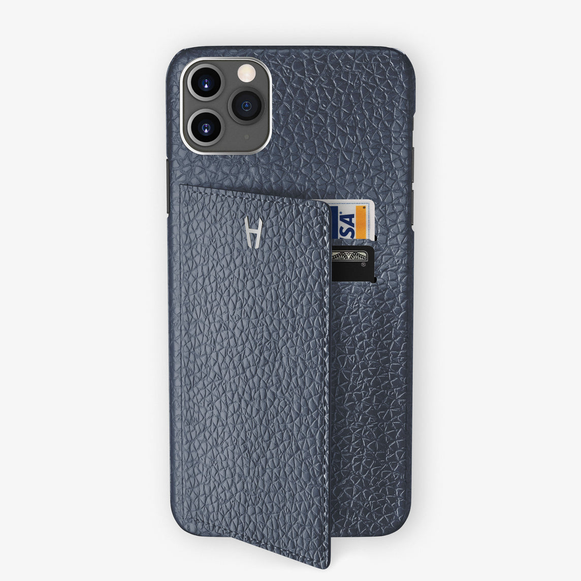 Calfskin Card Holder Flap Case iPhone 11 Pro Max | Navy Blue - Stainless Steel